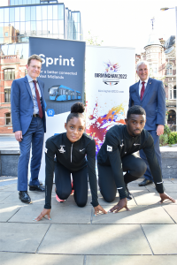 Birchfield Harriers Kaie Chambers-Brown (Great Britain U20) and Cassie-Anne Pemberton (Great Britain U18) launch the Sprint consultation with Mayor of the West Midlands Andy Street (left) and Cllr Ian Ward, leader of Birmingham City Council.